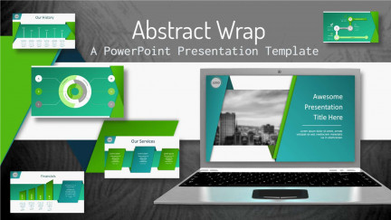 A collage of presentation slides from Abstract Wrap PowerPoint Template
