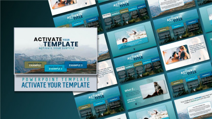 A collage of presentation slides from Activate Your Template PowerPoint Template