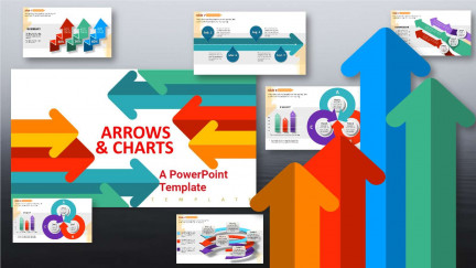 A collage of presentation slides from Arrows And Charts PowerPoint Template