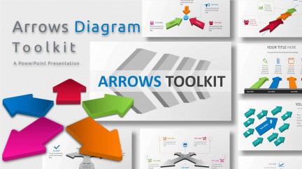 A collage of presentation slides from Arrows Diagram Toolkit PowerPoint Template