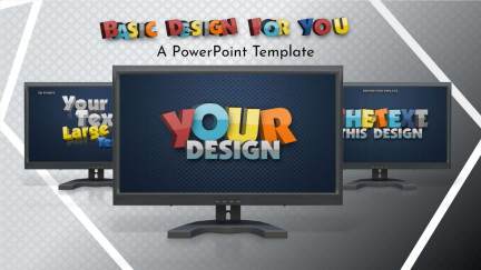 A collage of presentation slides from Basic Design For You PowerPoint Template