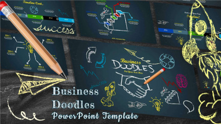 A collage of presentation slides from Business Doodles Timeline PowerPoint Template
