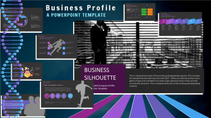A collage of presentation slides from Business Sihouette Company Profile PowerPoint Template