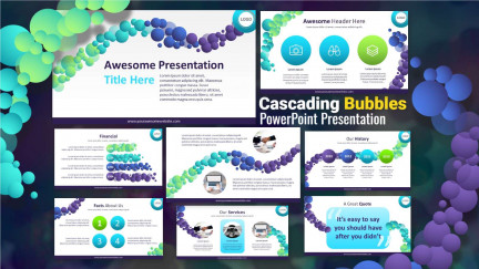 A collage of presentation slides from Cascading Bubbles Powerpoint Slides PowerPoint Template