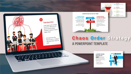A collage of presentation slides from Chaos Order Strategy PowerPoint Template