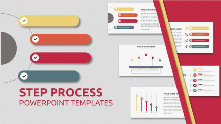 A collage of presentation slides from Check Mark Step Process PowerPoint Template