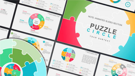 A collage of presentation slides from Circle Puzzle Diagram Template PowerPoint Template