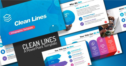 A collage of presentation slides from Clean Lines PowerPoint Template