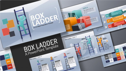 A collage of presentation slides from Climbing Box Ladder Template for PowerPoint PowerPoint Template