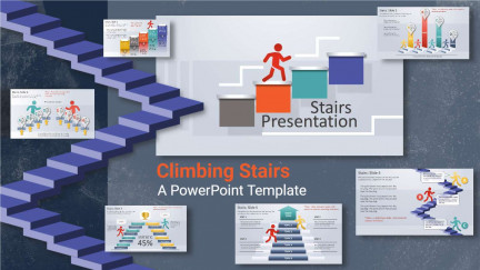 A collage of presentation slides from Climbing Stairs PowerPoint Template