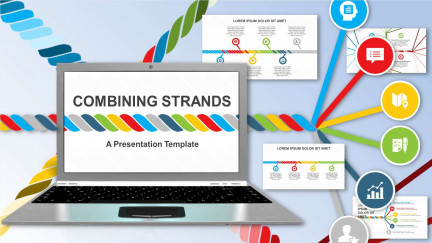 A collage of presentation slides from Combining Strands Concept for PowerPoint PowerPoint Template