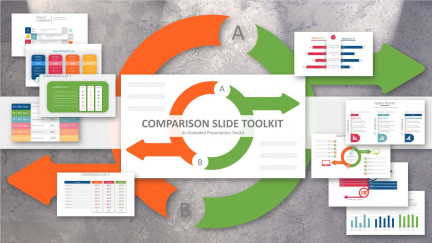 A collage of presentation slides from Comparative Tables PowerPoint Diagrams PowerPoint Template