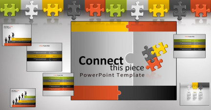 A collage of presentation slides from Connect This Piece PowerPoint Template