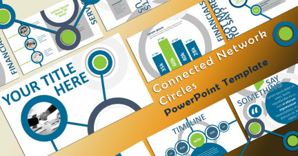 A collage of presentation slides from Connected Network Circles PowerPoint Flow PowerPoint Template