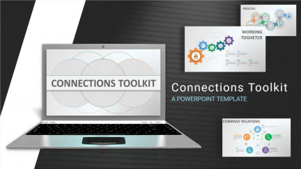 A collage of presentation slides from Connections Toolkit PowerPoint Template