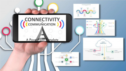 A collage of presentation slides from Connectivity And Communication PowerPoint Template