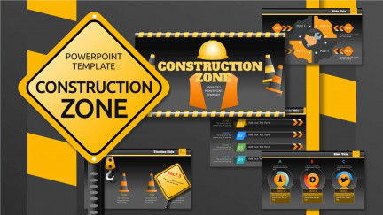A collage of presentation slides from Construction Zone PowerPoint Template