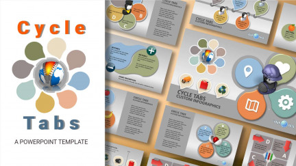 A collage of presentation slides from Cycle Tabs PowerPoint Template