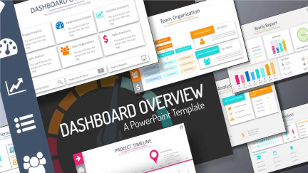 A image collage showing multiple PowerPoint slides from the education template called dashboard overview.