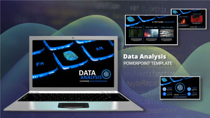 A collage of presentation slides from Data Analysis PowerPoint Theme PowerPoint Template