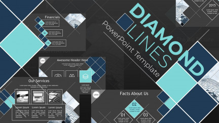 A collage of presentation slides from Diamond Lines Business PowerPoint Template
