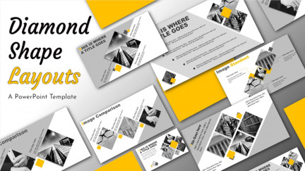 A collage of presentation slides from Diamond Shape Layouts PowerPoint Template