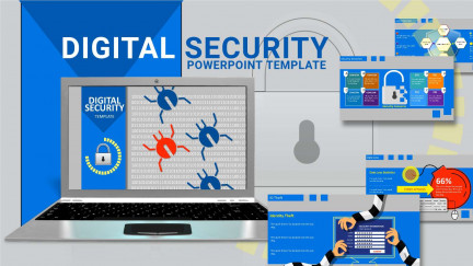 A collage of presentation slides from Digital Security Bugs PowerPoint Template