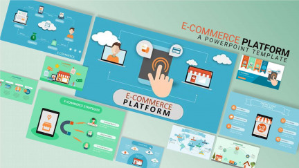 A collage of presentation slides from E-commerce Platforms PowerPoint Template