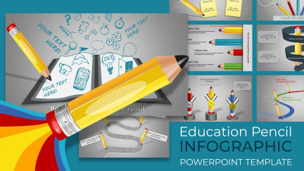 A collage of presentation slides from Education Infographic Pencil PowerPoint Template