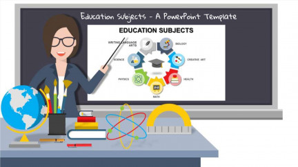 A collage of presentation slides from Education Subjects PowerPoint Template