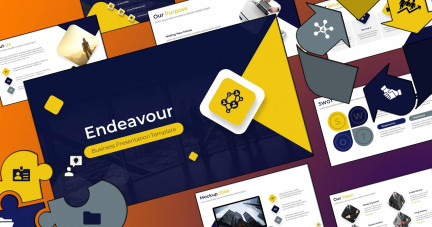 A collage of presentation slides from Endeavor Business Template PowerPoint Template