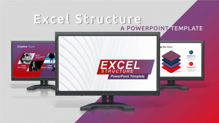 A collage of presentation slides from Excel Structure PowerPoint Template