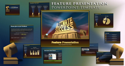 A collage of presentation slides from Feature Presentation ppt Template PowerPoint Template
