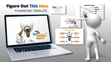 A collage of presentation slides from Figure Out This Idea PowerPoint Template