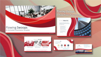 A collage of presentation slides from Flowing Swoops PowerPoint Template