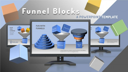 A collage of presentation slides from Funnel Blocks PowerPoint Template