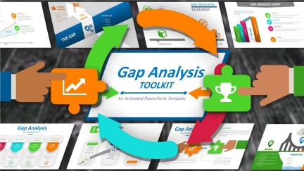 A collage of presentation slides from Gap Analysis Toolkit PowerPoint Template