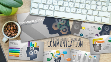 A collage of presentation slides from Gears Head Communication PowerPoint Concept PowerPoint Template
