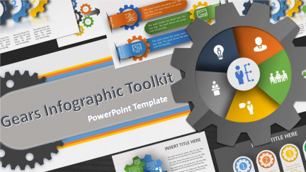 A collage of presentation slides from Gears Infographic Toolkit PowerPoint Template