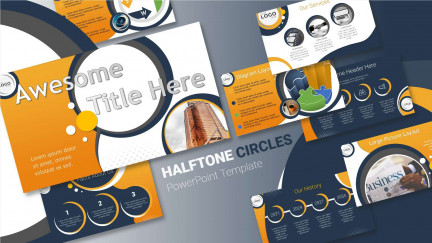 A collage of presentation slides from Halftone Circles Template for PowerPoint PowerPoint Template
