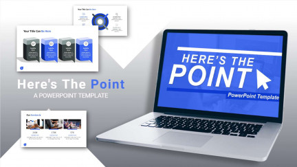 A collage of presentation slides from Heres The Point PowerPoint Template