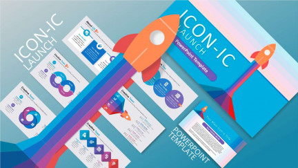 A collage of presentation slides from Iconic Launch PowerPoint Template