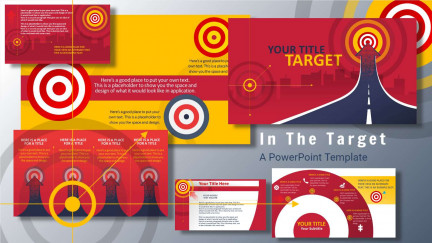 A collage of presentation slides from In The Target PowerPoint Template
