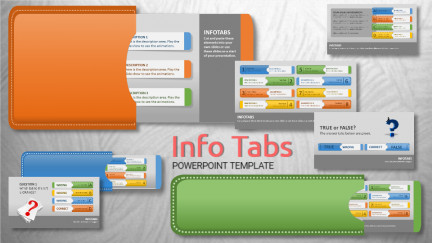 A collage of presentation slides from Info Tabs PowerPoint Template