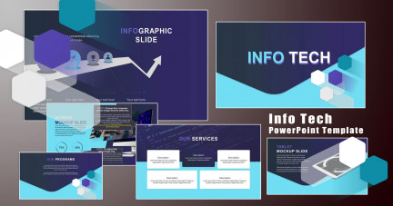 A collage of presentation slides from Info Tech PowerPoint Template