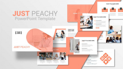 A collage of presentation slides from Just Peachy PowerPoint Template