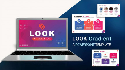 A collage of presentation slides from Look Gradient PowerPoint Template