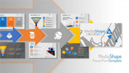 A collage of presentation slides from Media Shape PowerPoint Template