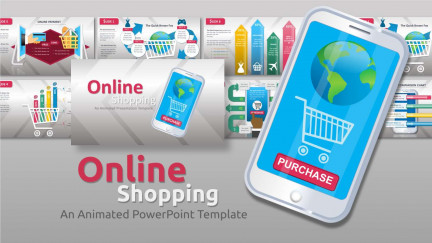 A collage of presentation slides from Mobile Online Shopping PowerPoint Template