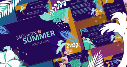 A collage of presentation slides from Modern Summer PowerPoint Template